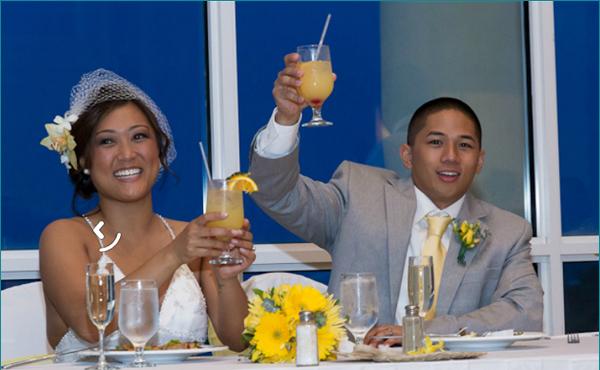 Bride and Groom Toasting St Thomas