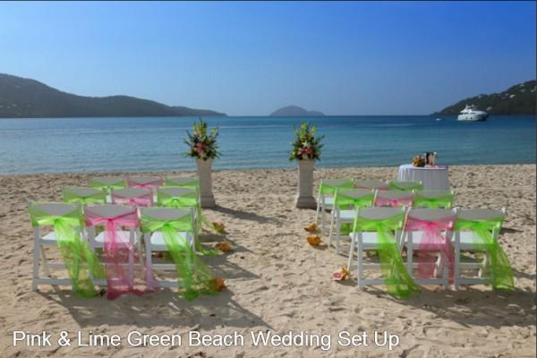 Magens Bay Beach St Thomas Wedding Setup