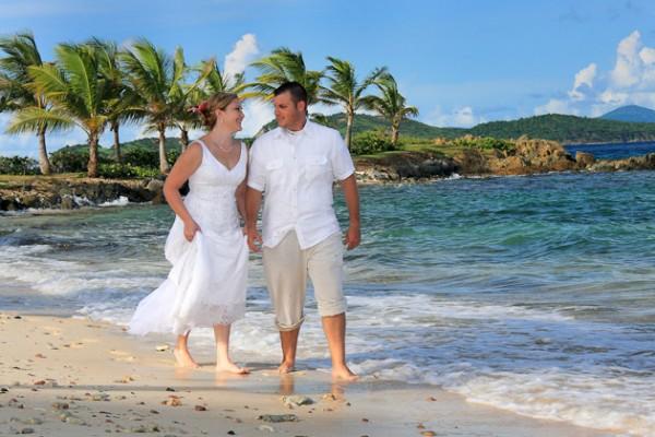 Newly Weds Walk on Beach St Thomas